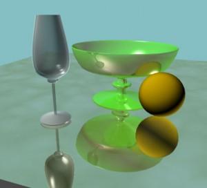 Получен эффект отражения на вазе